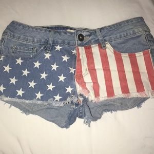American Flag Jean Shorts.